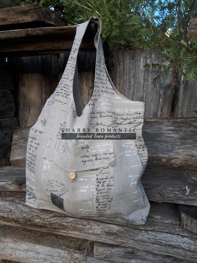 Lněná nákupní taška Manuscrit